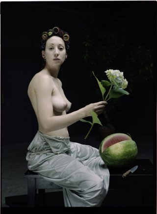 Model with Blue Flower and Watermelon